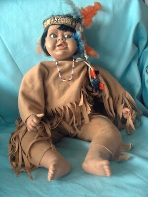 """Snydee ~ 13"""" Vintage Handcrafted Porcelain-like Doll in brown Indian outfit"""