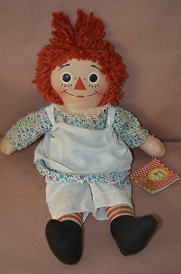 """19"""" The Original Raggedy Ann Doll Vintage Old with Apron Dress I Love You Heart"""