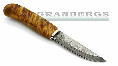 H.Roselli Damascus Carpenters Knife in Wooden Gift Box Curly Birch Finnish Made
