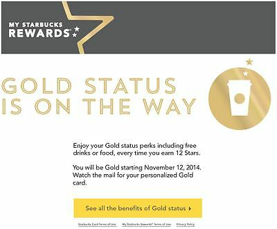 Starbucks personalized gold card & gold account on Nov 12, 2014