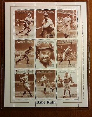 1998 LIMITED EDITION BABE RUTH COMORO ISLAND ISSUED STAMP