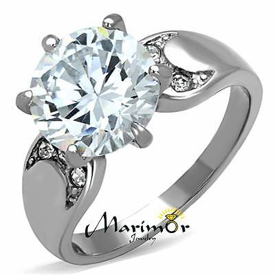 Stainless Steel 316L 3.9 Ct Round Cut Cubic Zirconia Engagement Ring Sizes 5-10
