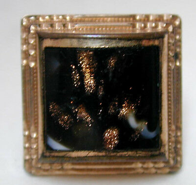 Victorian Gold Filled Collar Button Black Glass w' Goldstone