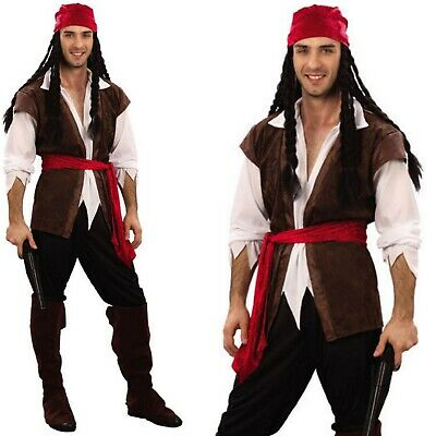 Deluxe CARIBBEAN PIRATE MAN COSTUME Adult Halloween Buccaneer Fancy Cosplay