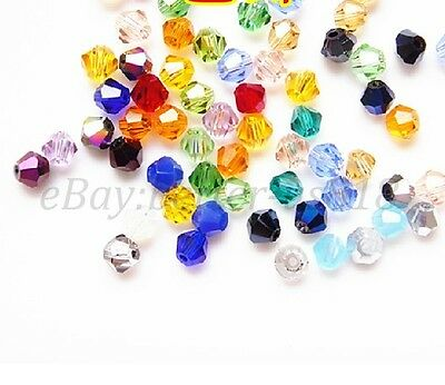 Wholesale! 20-100pcs Mixed Color Quality Czech Crystal Bicone Beads 4MM 6MM 8MM