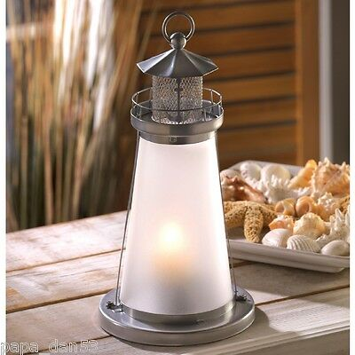 """Lookout Lighthouse Candle Lamp Frosted Glass Quaint Metal 10"""" Tall Unique Decor"""