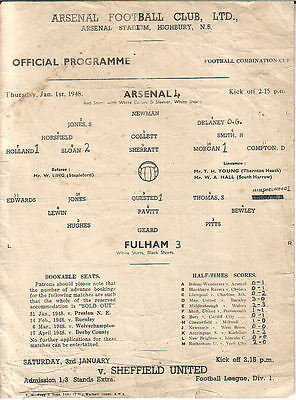Arsenal v. Fulham 1/1/1948 Combination Cup