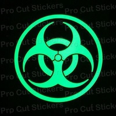 Zombie Biohazard Small to Large Glow in the Dark Luminescent Stickers Decals
