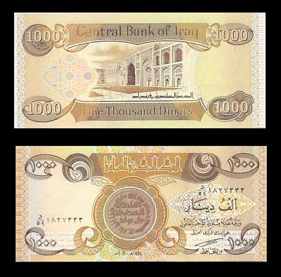 Iraqi Dinar 1,000 New  1 X 1,000  New Uncirculated Collectable - Limit 10 Notes