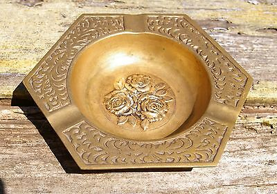 Vintage Brass Metal Three Rose Ash Tray Hexagon Made in Korea Floral Flowers