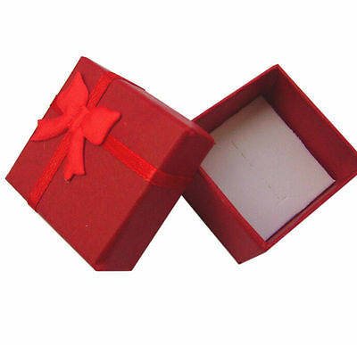 12pcs Jewelry Ring Earring Gift Wholesale Red Ribbon Present Box 4*4*3cm