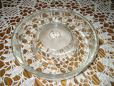 "Queen-Anne Glasbake Clear Heavy Glass Bundt Baking Dish Jello Mold 8-3/4"" EUC"