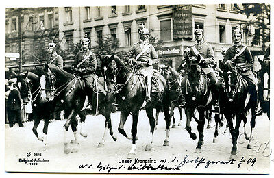 1909 RP POSTCARD WILHELM CROWN PRINCE OF GERMANY SOLDIERS HORSEBACK BERLIN y76.