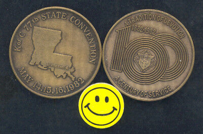 Knights Of Columbus - 77th State Convention - Antique Bronze Coin 1982