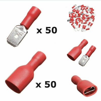 100pcs Red Insulated Spade Electrical Connector Terminal Male/Female Kit