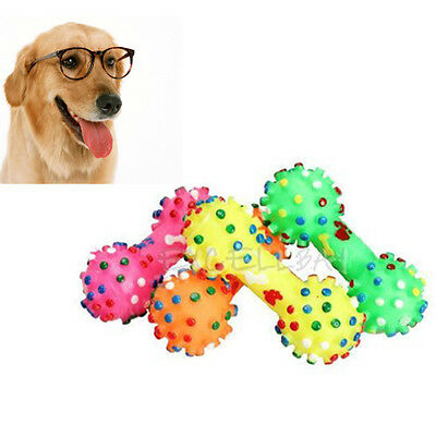 Colorful Dumbbell Shape Pet Dog Puppy Squeaky Chew Toy Squeaker Bone Funny Toys