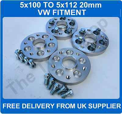 Car 5x100 To 5x112 Wheel VW 20mm Hubcentric Spacers PCD Adaptors + Bolts 2 Pair