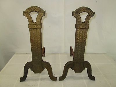 Vintage Pair of Mission Style Cast Iron Andirons