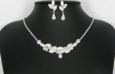 Collana + Orecchini Set Sposa Perle E Cristalli Sw Wedding Made In Italy Art.104