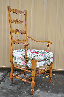 Quality Vintage French Country Carved & Distress Finished Ladder Back Arm Chair