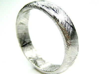 Gibeon Iron Nickel Meteorite 5.5Mm Band Ring 9.5 & T