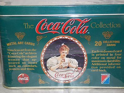 Coca Cola 20 Metal Art Embossed Cards in Factory Sealed Collector Box. -New 1994