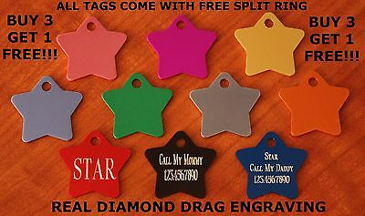 "Custom Engraved DOUBLE SIDED Tag Pet ID  STAR SHAPED  DOG CAT "" PREMIUM QUALITY"""