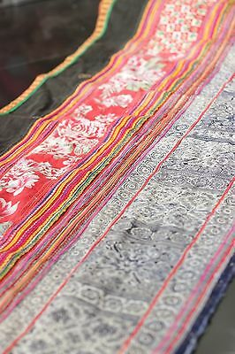 VINTAGE Fabric Batik & Embroidered HMONG Tribal Textile Quilt Table Runner