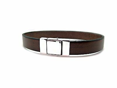 Mens leather bracelet with sterling silver closure-genuine quality flat leather