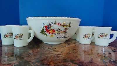 Vintage Christmas 1940's McKee Hazel Atlas Tom & Jerry Punch Bowl Milk Glass Set