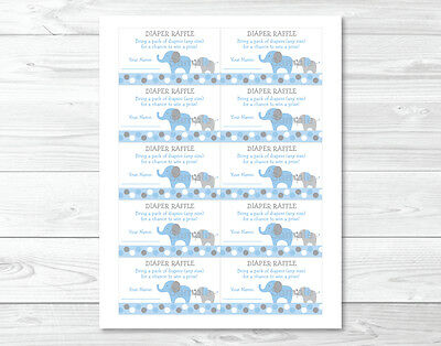 graphic relating to Printable Diaper named BLUE AND Gray Polka Dot Elephant Printable Boy or girl Shower Diaper Raffle Tickets