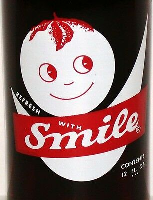 Vintage soda pop bottle REFRESH WITH SMILE 12oz red white with kewpie pictured