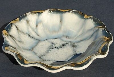 'West Germany' Vintage Ruffled Gold Lined Bowl