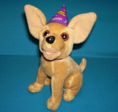 """TACO BELL DOG Chihuahua with HAPPY NEW YEAR HAT 2000 6"""" Plush Toy"""