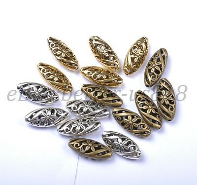 Charms Tibetan Silver Ellipse Shaped Hollow Spacer Beads For Jewellry 22MM BE25