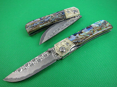 hand made Damascus blade steel folding knife Collectible abalone shell handle