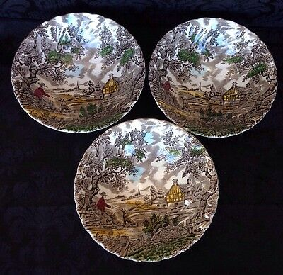 Franciscan Staffordshire The Hunter Multicolored Cereal Bowls 3 Total