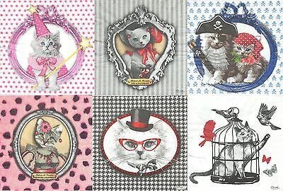 Lot de 6 serviettes en papier Animal Chat Design Paper Napkins Cat Vintage Orval