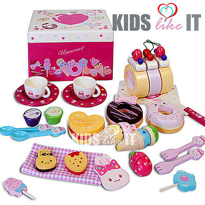 Kids Girls Pink Wooden Miffy Bunny Afternoon Tea Cup Party Toy Pretend Play Set