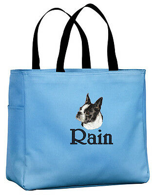 Boston Terrier embroidered essential tote bag 18 COLORS