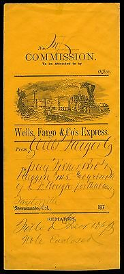 Wells Fargo Illustrated Commission Envelope from the 1870's