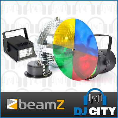 Mirror Disco Ball 8inch 20cm Rotating Motor Colour Pinspot Light Strobe DJ Party