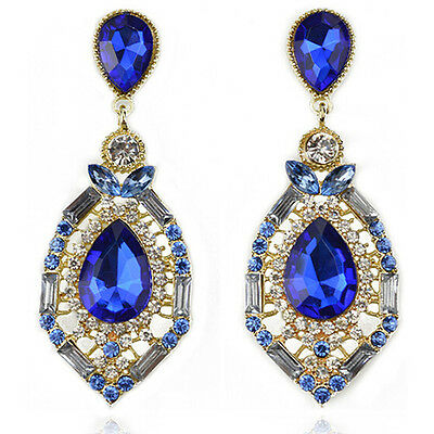 Women Stunning Luxury Elegant Fuax Rhinestone Big Drop Earrings Vintage Earings