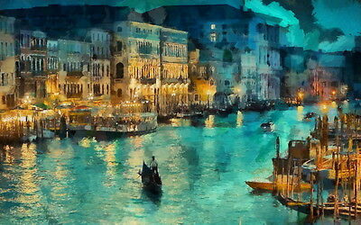 Modern art wall decor Night in Venice oil painting HD Printed on canvas 20x32