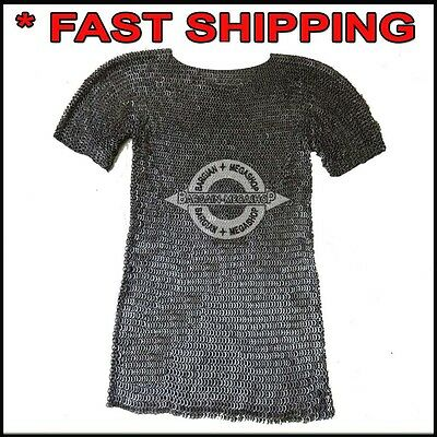 Flat Riveted Chain Mail Shirt Armor Chainmail Haubergeon Costume Blackended Sca