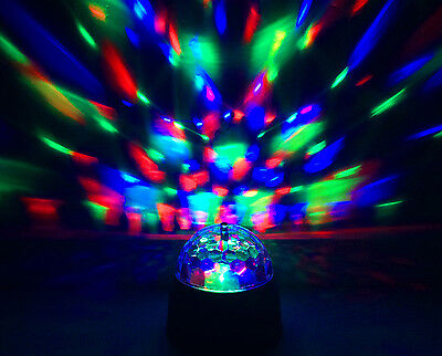 LED Bulb Portable Battery Power Rotating Spinning Crystal Disco Ball Party Light