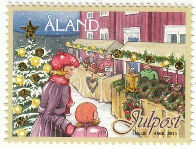 Christmas Folio Gold Stars Stamp Christmas Place Aland Finland MNH 2014