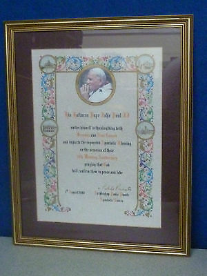 Rare Papal Blessing By Pope John Paul Ii 50Th Wedding Anniversary