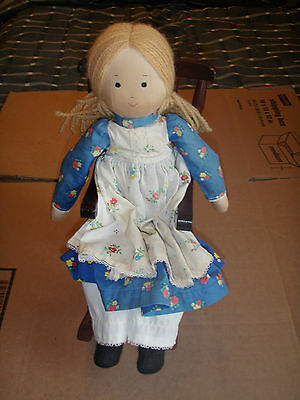 "Vintage decorative handmade ""Plain & Fancy"" doll and rocking chair"