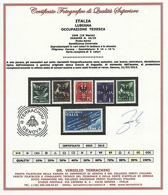 Lubiana 1944 - Occup. Tedesca Beneficenza Mnh/mh (1) - Cert. Terrachini - € 225